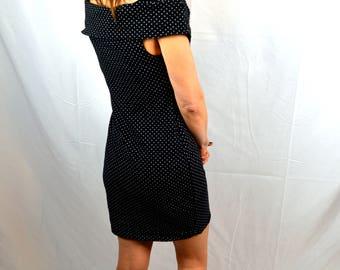 Vintage 80s Forenza Spandex Polka Dot Polkadot Black White Party Dress