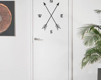 Arrow Compass Stickable Vinyl Wall Decal