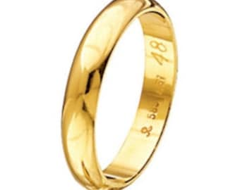 Wedding Band, Gold Wedding Ring, Wide Gold Band, Simple Band Ring, Mens Wedding Band, Classic Band, 3,60 mm Band Ring, Solid Gold Band