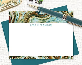 personalized flat note cards set - vintage marble paper STACIE TEAL - set of 12 cards - custom stationary - animal print