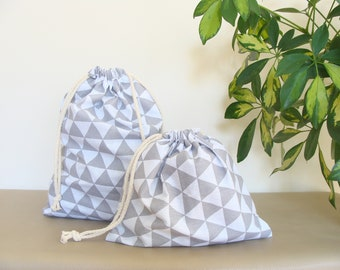 Set of two drawstring bags, drawstring pouches, fabric drawstring bags, reuseable cotton bags, fabric closet organizers, project bags