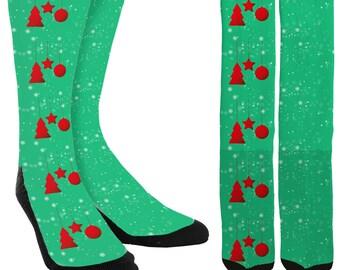 Holiday Crew Socks - Holiday Socks - Christmas Socks - Christmas Ornament Socks -Unique Socks -Novelty Socks -Cool Socks - FREE Shipping E02