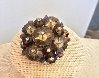 Chocolate crystal flower brooch