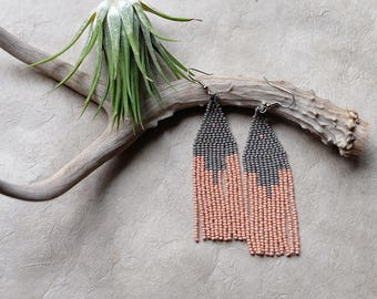 Pink Silt // Native American Beaded Earrings / Geometric / Bohemian / Festival Jewelry