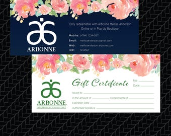 PRINTABLE Arbonne Gift Certificate, Arbonne Printable Gift Certificate, Custom Business Card, Digital File AB001