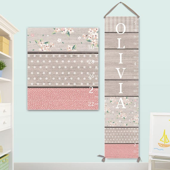 Personalized Canvas Growth Chart with Wood and Pattern Design - Girls Growth Chart, Canvas Growth Chart - GC0115S