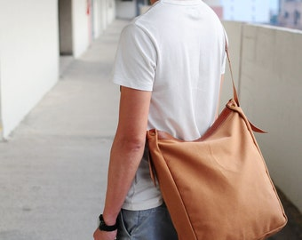 Handmade Brown Leather And Canvas Shoulder Bag/ Carry On Bag/ Tote Bag (SUMMER SALE)