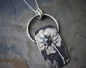 Wildflower Necklace, Cinquefoil Necklace, Botanical Necklace in Fine Silver