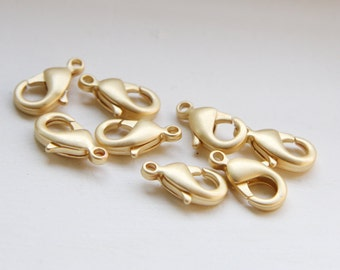 20pcs Matte Gold Plated Brass Base Lobster Clasps-12mm (322C-I-9F)