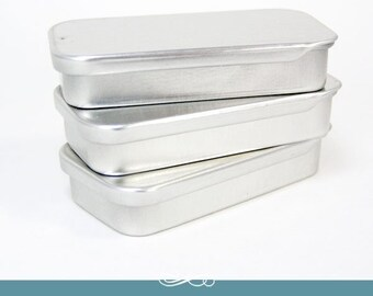 Metal Tins. 25 Mini Slide Top Tins. Rectangle Mini Tins. Lip Gloss Tin. Party Favor Tin. 25 Pack