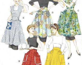 1950s Womens Aprons Full and Half Aprons Vogue Sewing Pattern V8643 Size 8 10 12 14 16 18 Bust 31 1/2 to 40 UnCut Vintage Vogue Model