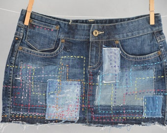 Mini jeans skirt one of a kind hand made made by order
