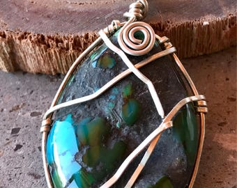 Turquoise and Sterling Silver Pendant, Hand Cut Blue Green Gemstone Pendant, Wire Wrapped Turquoise Pendant, Hubei Turquoise Cabochon