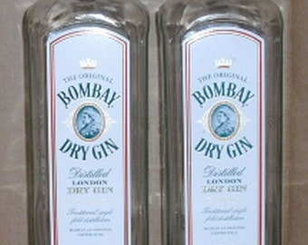2 BOMBAY DRY GIN 1 Liter empty recycled liquor bottles for crafts