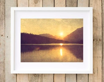 Romantic wall art, rustic cabin decor, rustic wall art, romantic sunset print, typography print, romantic photograph, gifts for her