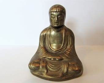 Small Vintage Brass Buddhist Monk. /MEMsArtShop.