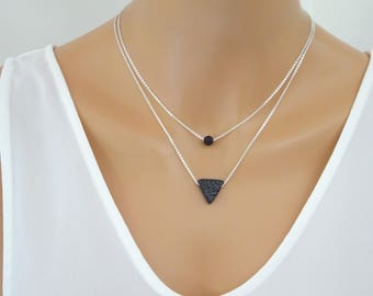 Lava stone 2 piece necklace set, Triangle Essential Oil Diffuser Necklace, Single lava  bead necklace, Layering necklace set Aromatherapy