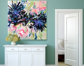 Large abstract painting, abstract floral art, contemporary art, expressionistic, acrylic painting, abstract floral painting, large painting