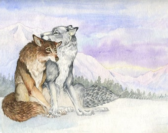 Wolves on the Tundra - 8.5 x 11 Giclee Print