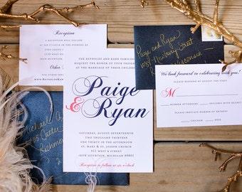 Wedding Invitation | Printable Wedding Invitation, Calligraphy, Coral and Navy Wedding, Printable Invitation, DIY Wedding Invitation - #S6