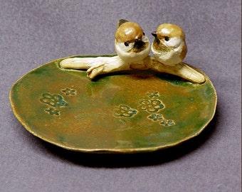 Handmade Ceramic Dish with Love Birds - Ring Holder, Jewelry Holder, Trinket Holder, Wedding Gift  Anniversary Gift  Romantic Art