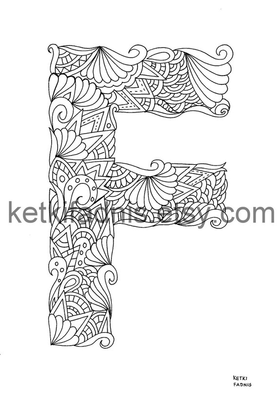 Letter F Coloring page Instant PDF Download Alphabet