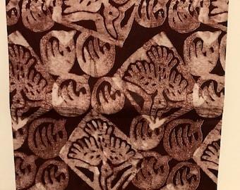 African print fabric, Batik, African Wax Print, tribal bird design, Wax Cotton, Brown African Ankara, African Material, sold by the yard