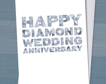 Happy Diamond Wedding Anniversary / 60 years married / 60th wedding anniversary / Diamond Anniversary / Typography / Typographical