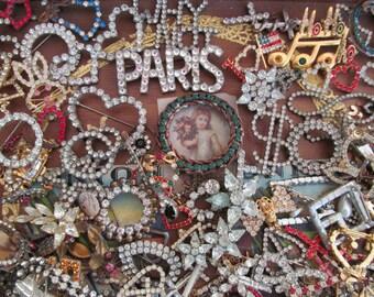 "Ultimate Vintage Destash Rhinestone, 6 pieces,""Hodge Podge"" Bits and Pieces"