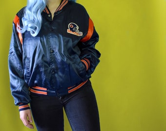 80s CHICAGO BEARS Jacket Satin Bomber // Size Medium Mens Womens // NFL Football Swingster Navy Blue Orange 1980s Sports Sportswear