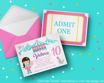 PRINTED Cute Circus Invitations