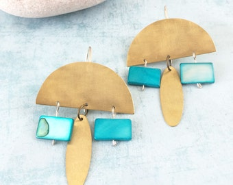 Boho brass earrings - half moon earrings - tribal golden earrings - turquoise statement earrings - dangle and drop -geometric gold earrings