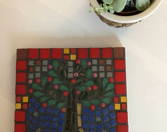 Red Flower Mosaic Teapot Stand or Wall Plaque