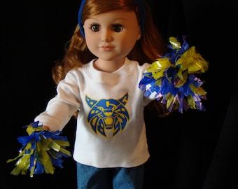 "Jeans & Choice of Your School or Team T-Shirt Doll Outfit; for American Girl Style 18"" Dolls! School n Dress Up Doll Clothes."