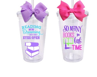 Book Lovers, Librarian, Personalized Acrylic Tumbler, Custom Designed to Order