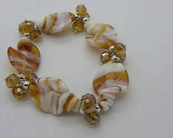 beige Brown Lampwork Glass and crystal glass beads beaded bracelet