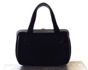 Vintage Black Velvet Handbag Evening Bag circa 1950/60