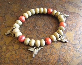 Mossy Hummingbird Brazilian Carnelian & Unakite Beaded Stretch bracelet