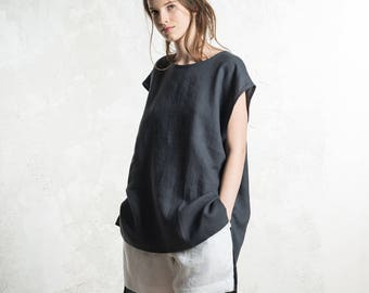Charcoal linen top for women, Linen tunic, Linen tank top, Dark grey linen women's clothing, Sleeveless shirt women, Linen tee shirt women