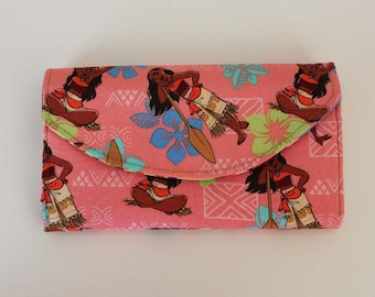 Disney Moana Quilted Accordion Style Clutch Wallet with 10 card slots and zipper pockets