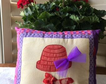 Red Hat Society Pillow - Hand Embroidered Accent Pillow - Whimsical Room Accent - Vintage Lace - Mother's Day Gift - Spring Decor