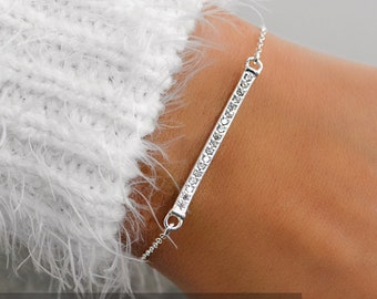 KRISTI Sterling Silver CZ Bar Bracelet, Sparkly Bracelet, Dainty Bracelet, Delicate Bracelet, Gift For Her, Bridesmaid Gift, Best Friends