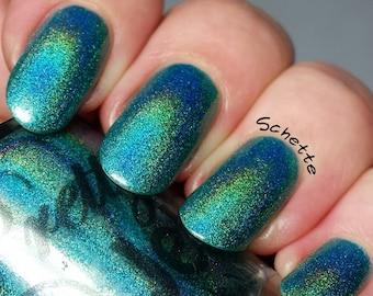 Nail Polish, Holographic Nail Lacquer, Teal Holo Nail, Turquoise Nail Color, Blue Nails, Shimmer, Indie Glitter, Vegan, PrettyJelly, ELYSIAN