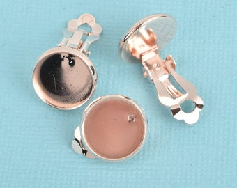 10 Rose Gold Plated Clip-On Earring Blanks, bezel tray fits 12mm round cabochons, fin0727