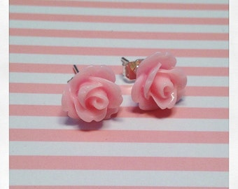 Light Pink Rose Stud Earrings