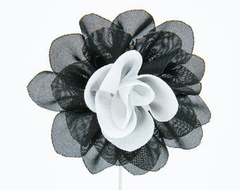 Christina Black/White Flower Lapel Pin
