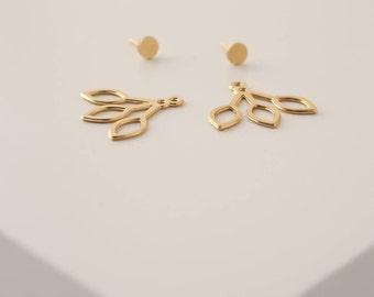 Gold Ear Jackets, Jacket Earrings, Double Sided Earrings, Unique Earrings, Gold Plated Earrings, Front Back Earrings, Double Back Earrings