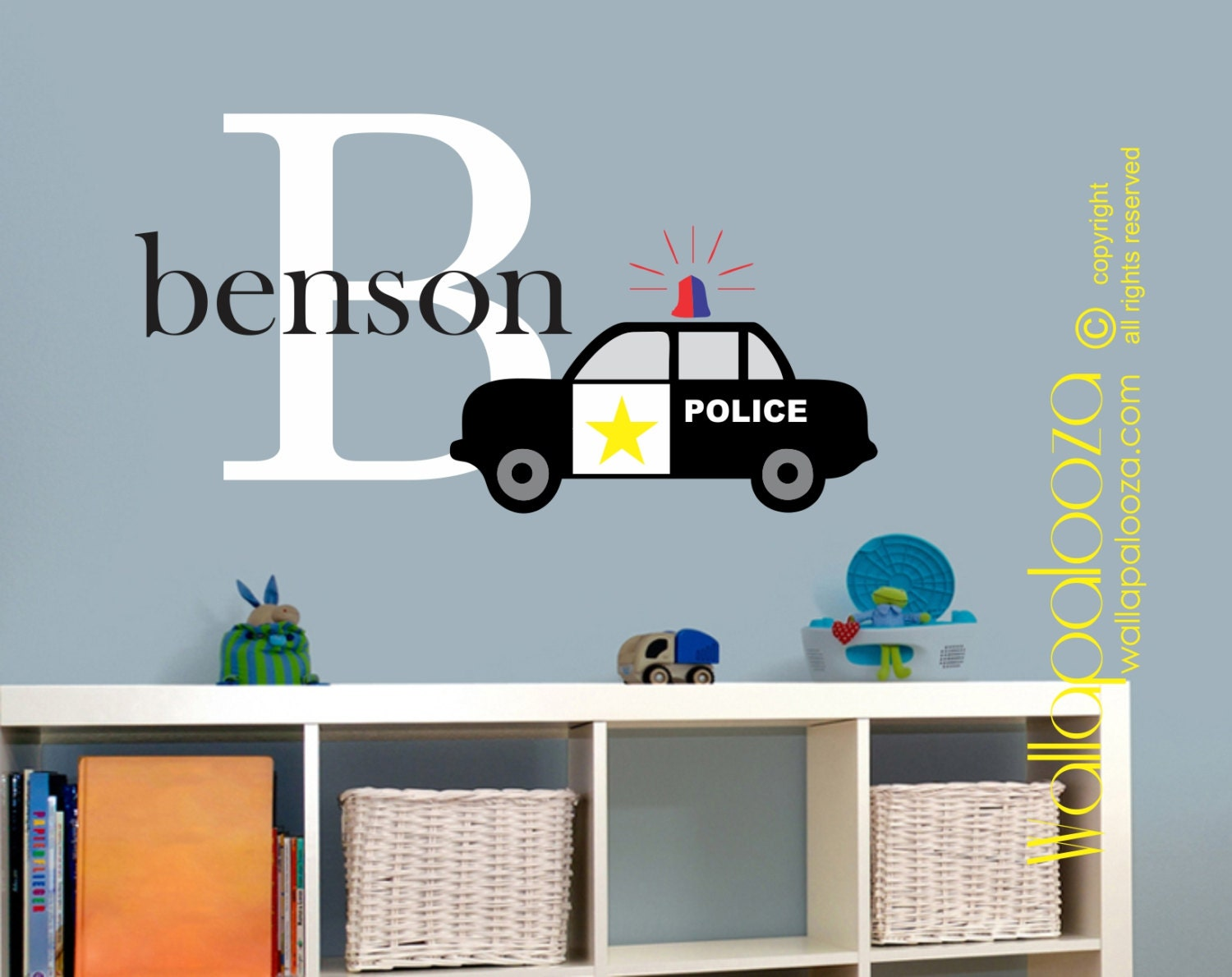 Police car wall decal boys room wall decal boys name wall zoom amipublicfo Gallery