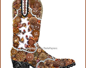 Cowboy Boots Button Art PRINT Strassed Boots Cowboy Decorations Boot Wall Art Cowgirl Farmhouse Decor Country Decor Gifts for Country Girls
