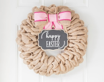 Handmade Easter Door Decor, Rustic Burlap Wreath with Interchangeable Bow and Sign for Year Round